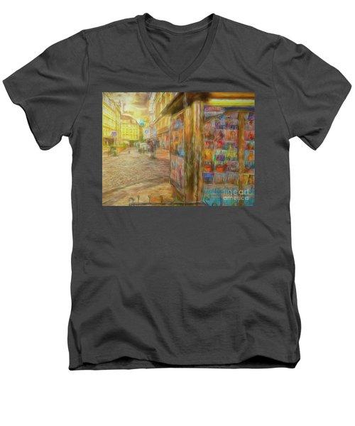 Kiosk - Prague Street Scene Men's V-Neck T-Shirt