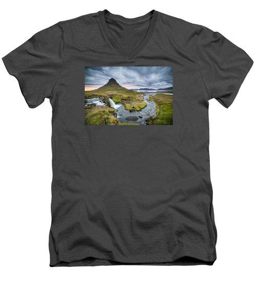 Kirkjufellsfoss 1 Men's V-Neck T-Shirt by Brad Grove
