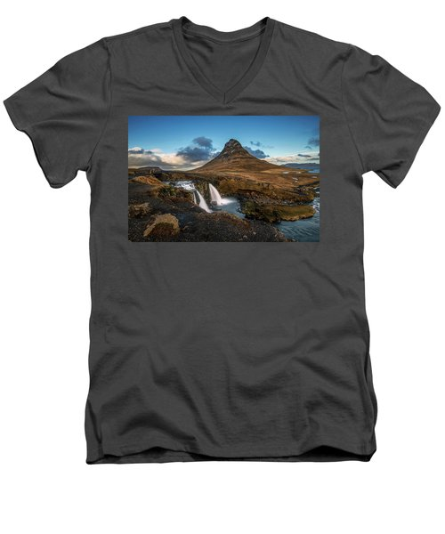 Kirkjufellsfoss Waterfall And Kirkjufell Mountain, Iceland Men's V-Neck T-Shirt