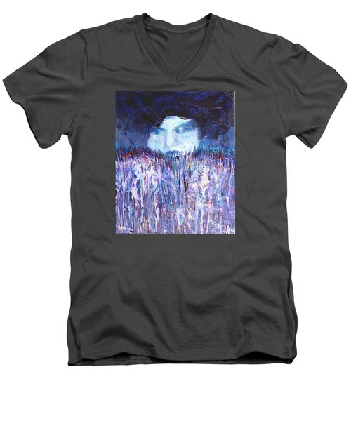 Men's V-Neck T-Shirt featuring the painting Kiss Of The Silver Moon by Seth Weaver
