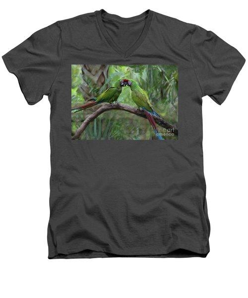 Kissing Macaws Men's V-Neck T-Shirt