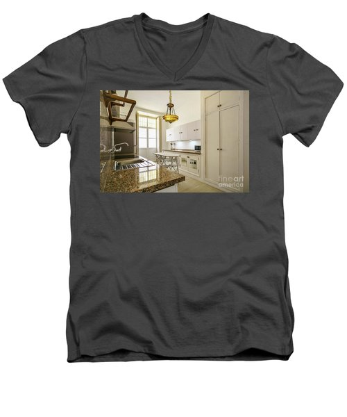Men's V-Neck T-Shirt featuring the photograph Kitchen Apartment In The Heart Of Cadiz by Pablo Avanzini