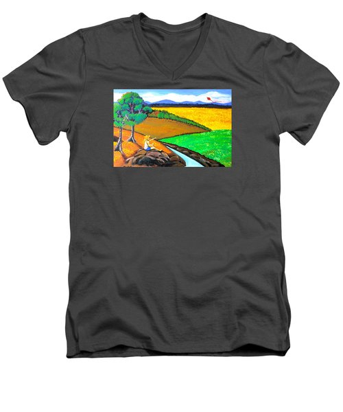 Men's V-Neck T-Shirt featuring the painting Kite by Cyril Maza