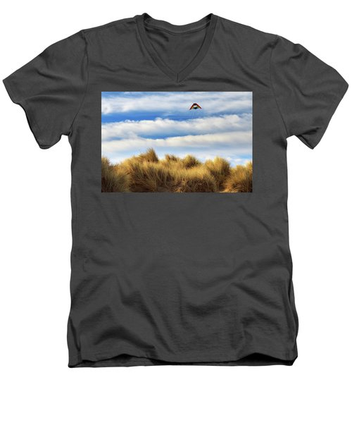 Men's V-Neck T-Shirt featuring the photograph Kite Over The Hill by James Eddy