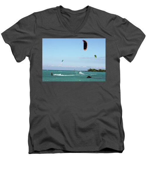 Kite Surfers And Maui Men's V-Neck T-Shirt by Karen Nicholson