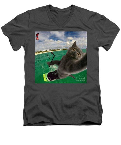 Kite Surfing Cat Selfie Men's V-Neck T-Shirt