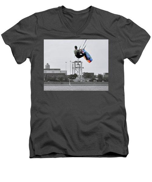 Kitesurfer Catching Air Men's V-Neck T-Shirt by Joanne Brown