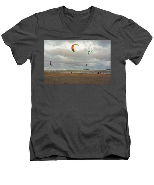 Kitesurfing On Revere Beach Men's V-Neck T-Shirt