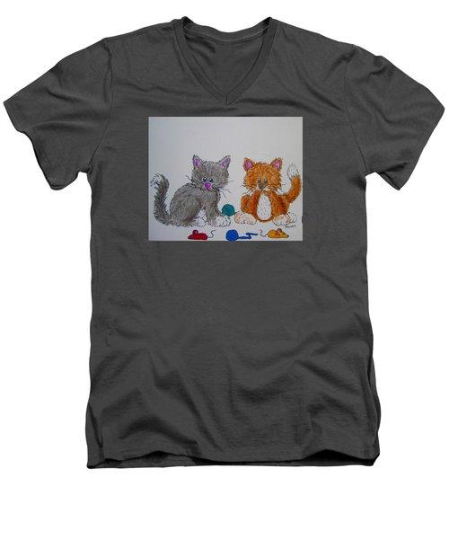 Men's V-Neck T-Shirt featuring the drawing Kitt And Katt by Megan Walsh