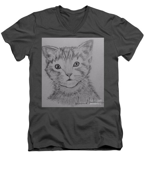 Men's V-Neck T-Shirt featuring the painting Kitten by Brindha Naveen