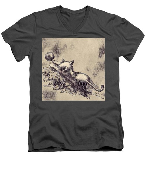 Kitten Playing With Ball Men's V-Neck T-Shirt