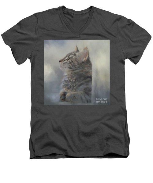 Kitten Zada Men's V-Neck T-Shirt by Kathy Russell