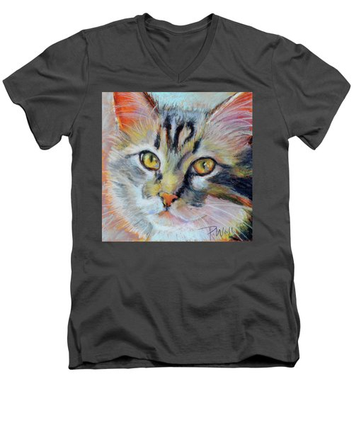 Men's V-Neck T-Shirt featuring the pastel Kitters II by Pattie Wall