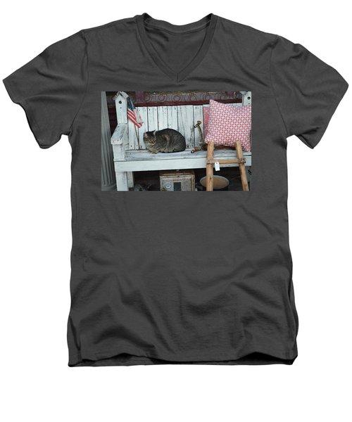 Kitty The Antique Dealer Men's V-Neck T-Shirt by Carolina Liechtenstein