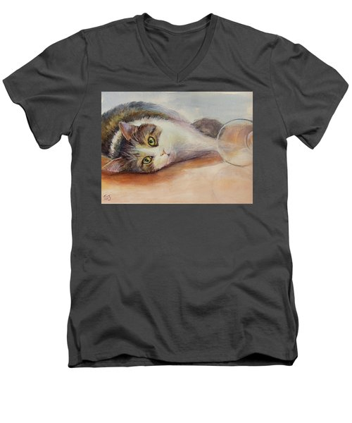 Kitty With Spilled Milk Men's V-Neck T-Shirt