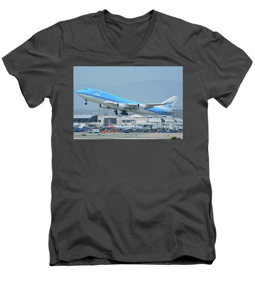 Men's V-Neck T-Shirt featuring the photograph Klm Boeing 747-406m Ph-bfh Los Angeles International Airport May 3 2016 by Brian Lockett