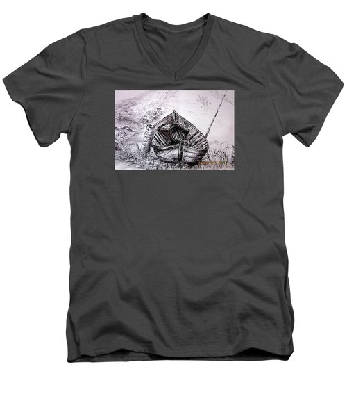 Men's V-Neck T-Shirt featuring the drawing Klotok  by Jason Sentuf