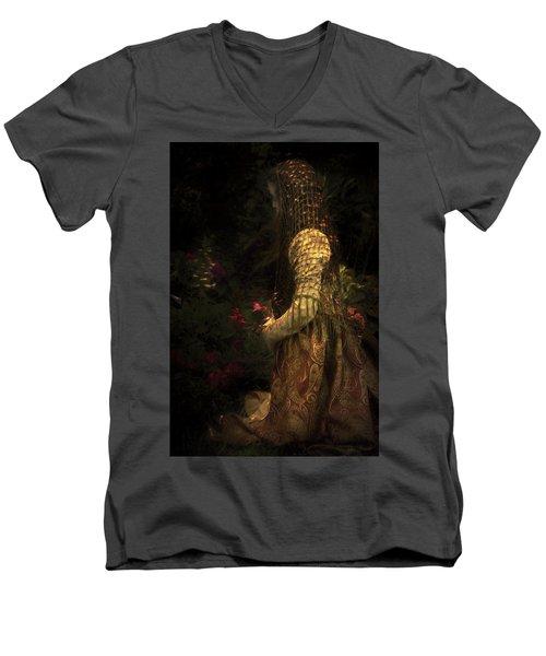 Kneeling In The Garden Men's V-Neck T-Shirt