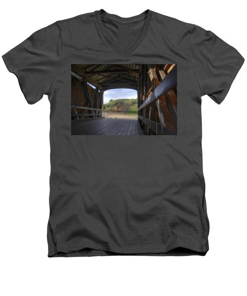 Knights Ferry Covered Bridge Men's V-Neck T-Shirt