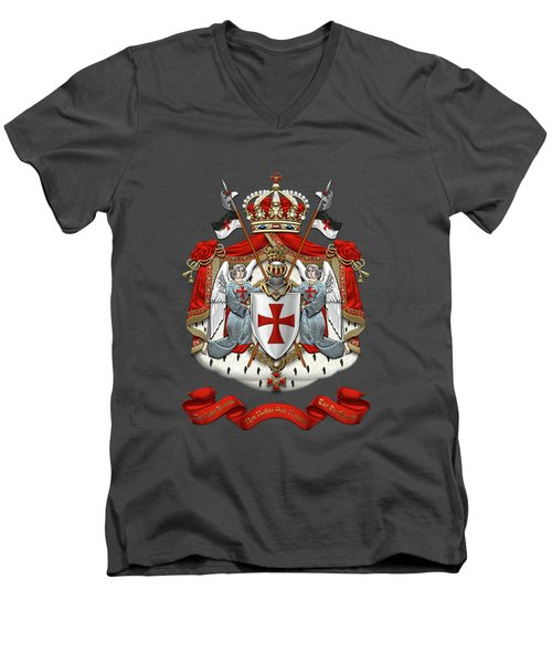 Knights Templar - Coat Of Arms Over Red Velvet Men's V-Neck T-Shirt by Serge Averbukh