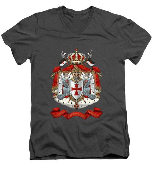 Knights Templar - Coat Of Arms Over Red Velvet Men's V-Neck T-Shirt