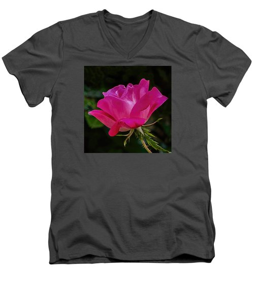 Men's V-Neck T-Shirt featuring the photograph Knock-out Rose by Susi Stroud