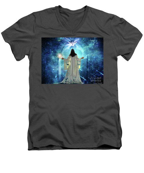 Men's V-Neck T-Shirt featuring the digital art Knocking On Heavens Door by Dolores Develde