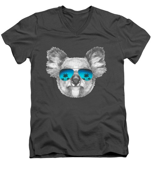Koala With Mirror Sunglasses Men's V-Neck T-Shirt by Marco Sousa