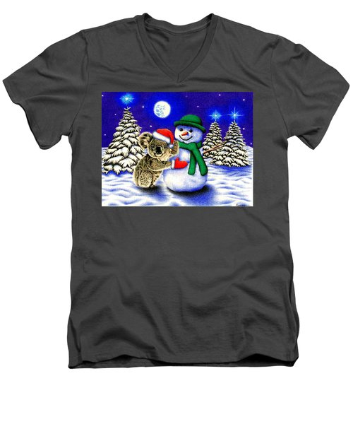 Koala With Snowman Men's V-Neck T-Shirt
