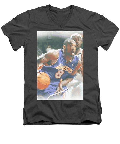 Kobe Bryant Lebron James Men's V-Neck T-Shirt by Joe Hamilton