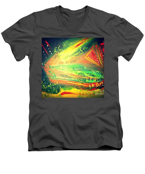 Men's V-Neck T-Shirt featuring the painting Koenigsegg Ccxr Trevita Four Point Eight Million Dollars by Richard W Linford
