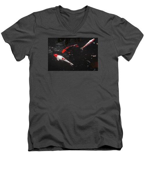 Men's V-Neck T-Shirt featuring the photograph Koi Trio 1 by Deborah  Crew-Johnson