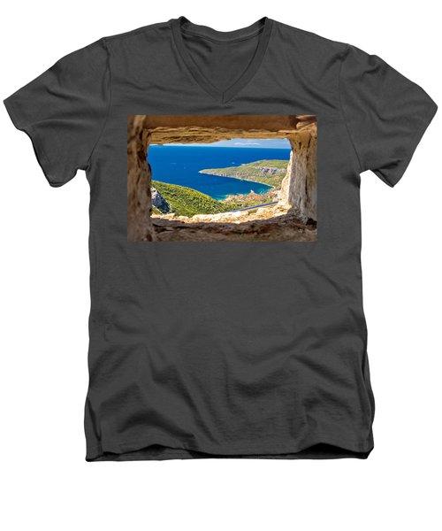 Komiza Bay Aerial View Through Stone Window Men's V-Neck T-Shirt by Brch Photography