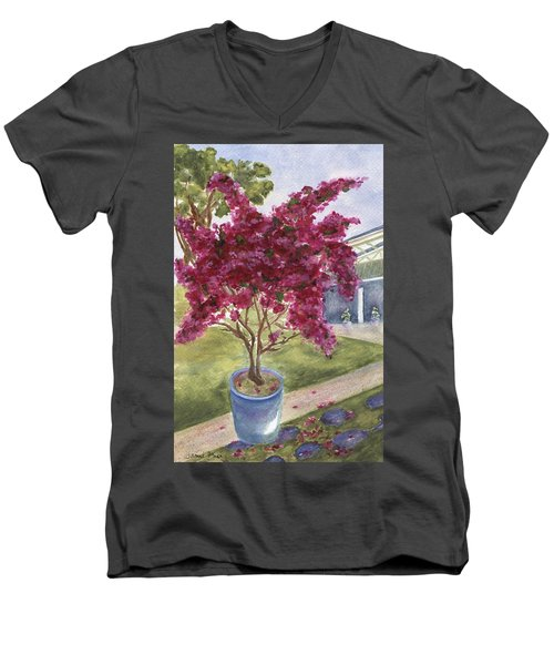 Men's V-Neck T-Shirt featuring the painting Kona Bougainvillea by Jamie Frier