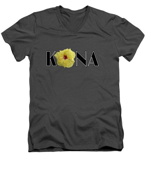 Kona Hibiscus Men's V-Neck T-Shirt by David Lawson