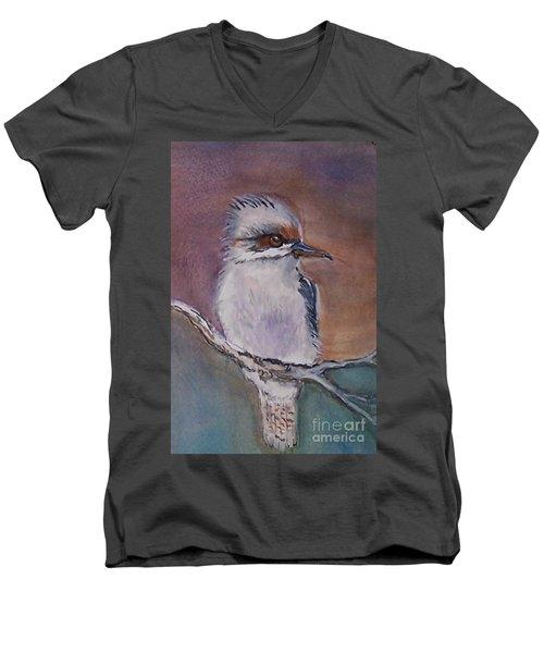Men's V-Neck T-Shirt featuring the painting Kookaburra Fancy by Leslie Allen