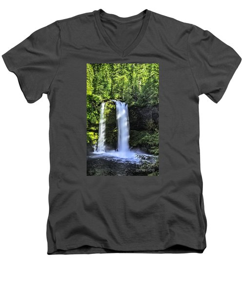Men's V-Neck T-Shirt featuring the photograph Koosa Falls,oregon by Nancy Marie Ricketts