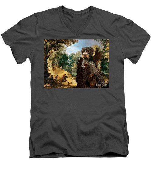 Korthals Pointing Griffon Art Canvas Print - The Hunters And Lady Falconer Men's V-Neck T-Shirt