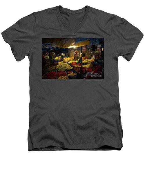 Men's V-Neck T-Shirt featuring the photograph Koyambedu Chennai Flower Market Predawn by Mike Reid