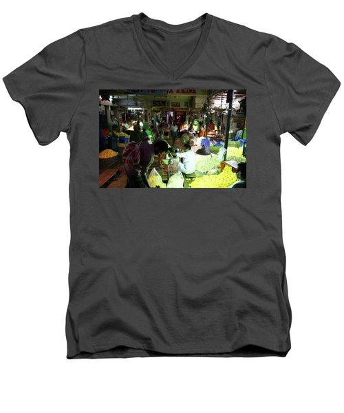 Men's V-Neck T-Shirt featuring the photograph Koyambedu Flower Market Stalls by Mike Reid