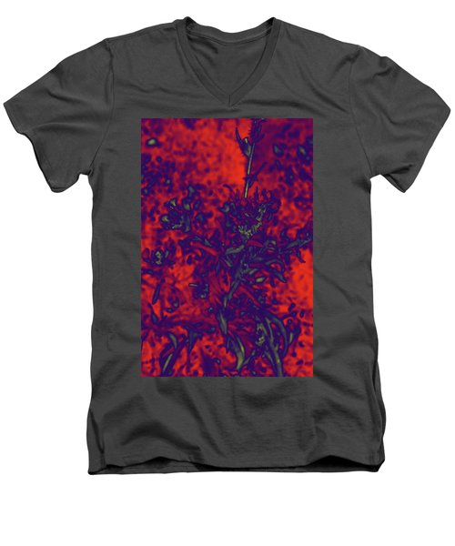 Men's V-Neck T-Shirt featuring the digital art Krazy Kosmic Katchina I by Carolina Liechtenstein