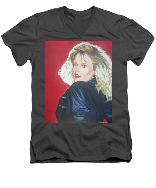 Men's V-Neck T-Shirt featuring the painting Kristi Sommers by Bryan Bustard
