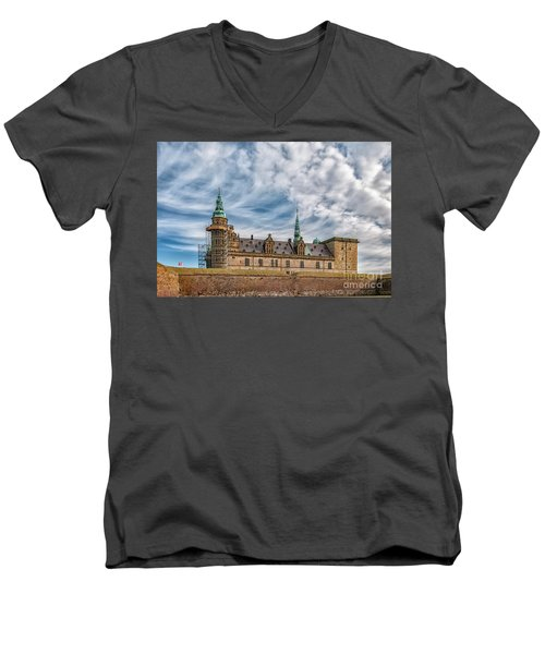 Men's V-Neck T-Shirt featuring the photograph Kronborg Castle In Denmark by Antony McAulay