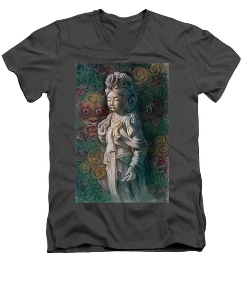 Kuan Yin Dragon Men's V-Neck T-Shirt