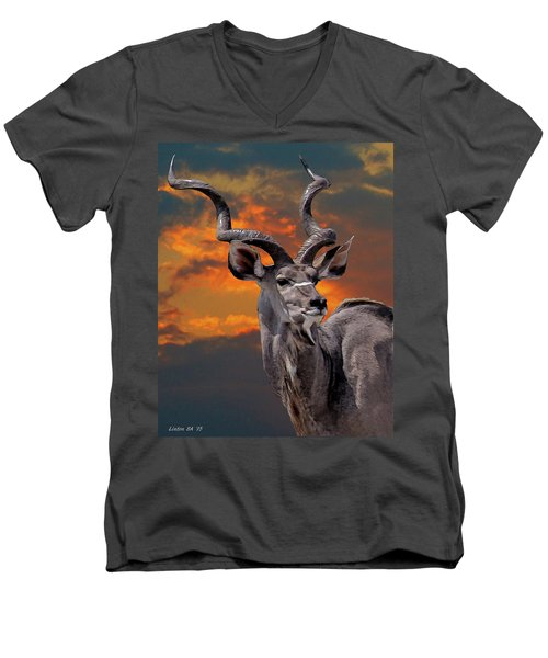 Kudu At Sunset Men's V-Neck T-Shirt