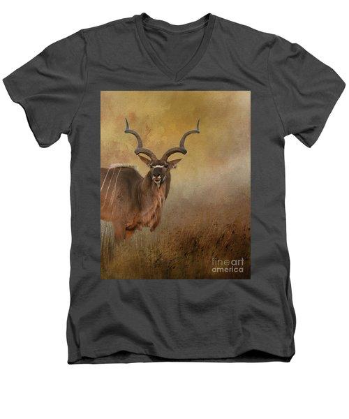 Kudu On Alert Men's V-Neck T-Shirt by Myrna Bradshaw