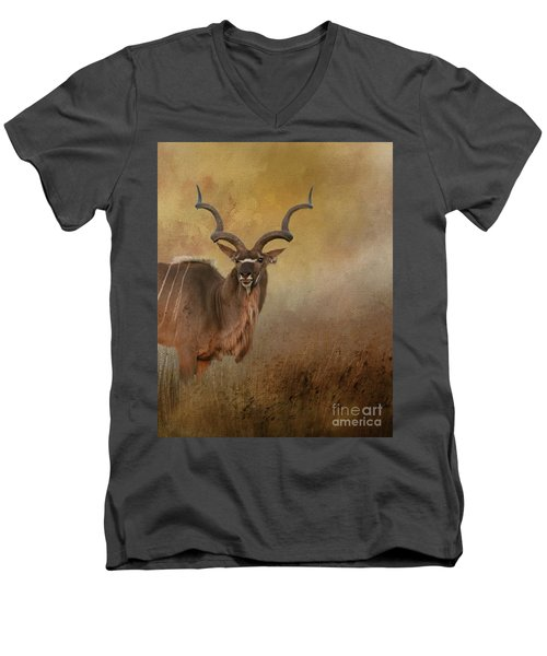 Kudu On Alert Men's V-Neck T-Shirt