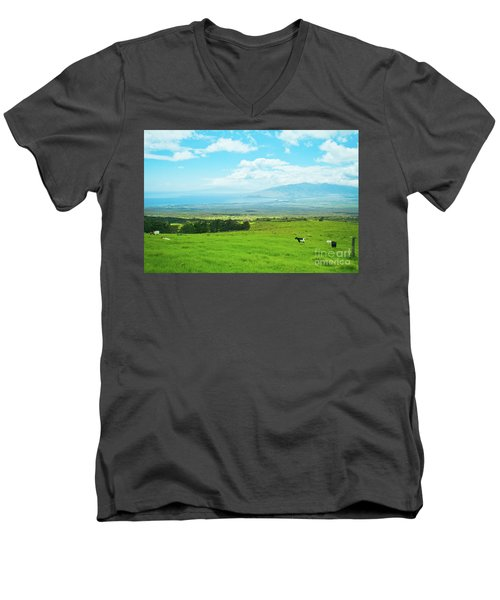 Kula Upcountry Maui Hawaii Men's V-Neck T-Shirt by Sharon Mau