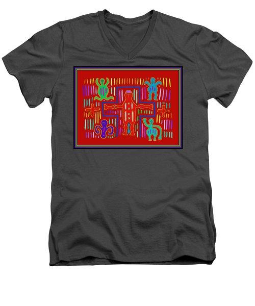 Men's V-Neck T-Shirt featuring the digital art Kuna Indian Mola Crucifix by Vagabond Folk Art - Virginia Vivier