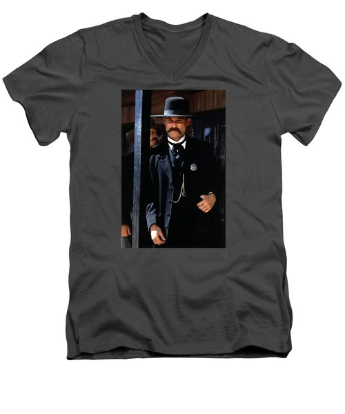 Kurt Russell As Wyatt Earp Tombstone Arizona 1993-2015 Men's V-Neck T-Shirt by David Lee Guss